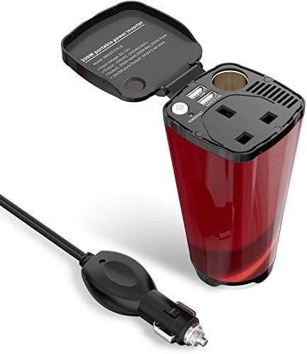 BAYUE Holder 250W Car Power Inverter Cup con Prese AC e 4.8A Dual USB di Ricarica Ports Adattatore for Auto con Presa accendisigari