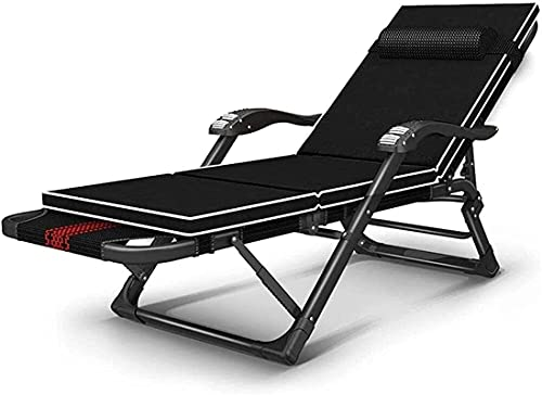 dh-9 Chaise Longue Plegable, sillón reclinable portátil, Cama de Camping portátil de Gravedad Cero con cómodo reposacabezas y reposacabezas