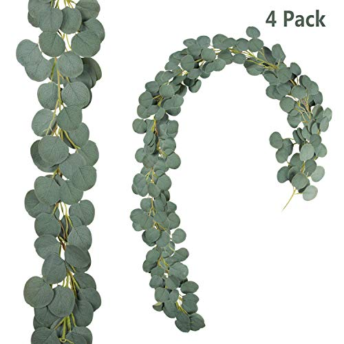 N/P 4 Pack 6.6 Feet Artificial Eucalyptus Garland Faux Silver Dollar Garland Greenery Eucalyptus Vines for Wedding Backdrop Decor