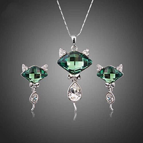 WDXDP Set di Gioielli con Ciondolo di Volpe di Cristallo Verde Collana per Donne Orecchini con Strass di Tendenza in Oro Bianco Set di Collana a Catena in Oro