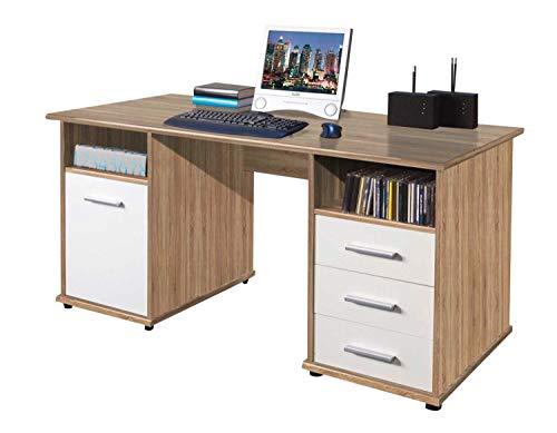 Schreibtisch Computertisch Arbeitstisch | Dekor | Eiche Sonoma | Weiß | 145x70 cm