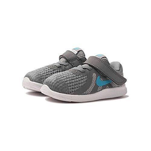 Nike Unisex Baby Revolution 4 (TDV) Niedrige Hausschuhe, Mehrfarbig (Cool Grey/Blue Fury/Pure Platinum/Black 014), 19.5 EU