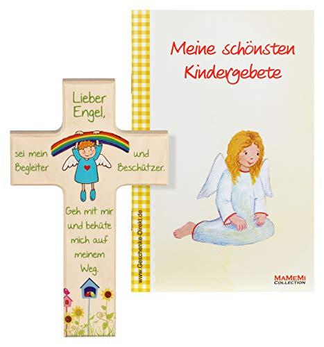 MaMeMi Kinder- Holzkreuz: 'Regenbogen-Engel' 15 cm zur Geburt, Taufe oder Kommunion