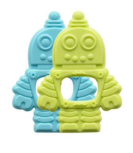 Sugarbooger Silicone Teether, Retro Robot, 2 Count