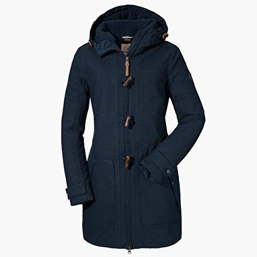 Schöffel Bregenz1 - Abrigo de lana impermeable y cortavientos con bonito aspecto jaspeado, cálido chaqueta de invierno con lana natural para mujer, Mujer, 12446, azul marino, 46