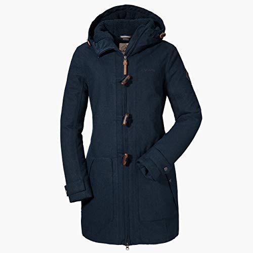 Schöffel Damen Duffle Coat Bregenz1 wasserdichter und winddichter Wollmantel in schöner Melange-Optik, warme Winterjacke mit natürlicher Wolle