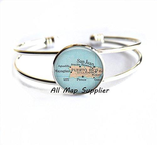 Pulsera con encanto, pulseras de mapa de Puerto Rico, pulsera de Puerto Rico, pulseras de Puerto Rico, joyas de Puerto Rico, A0104