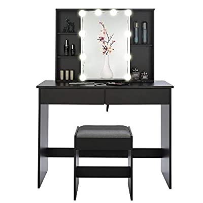 USIKEY Large Vanity Set with 10 LED Lights & 1 Slide Rail Mirror, Makeup Tables with 5 Shelves, Dressing Vanity Table with 2 Large Drawers and 1 Cushioned Stool for Bedroom, Bathroom, Black