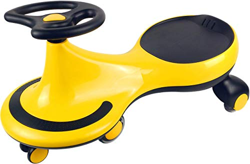 KOOKIDO Wiggle Car, Swing Car with Quiet Flashing Wheels, Ride-on Toy for Ages 3 Yrs and Up, Vibrant Yellow