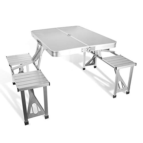 LCPP Einfache Kombination aus Picknicktisch und Stuhl im Freien, Klapptisch aus Aluminiumlegierung Freilufttisch im Freien