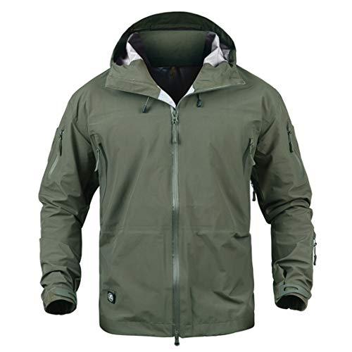 Imperméable à l'eau Coque Dure Militaire Tactique Camouflage à Capuche Hardshell Coupe-Vent Manteau Pluie Veste Chasse Green XL