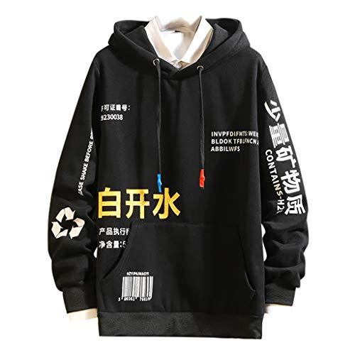 Sweat à Capuche Homme Grande Taille, DEELIN Sweat-Shirt à Capuche Automne Hiver Chaud Personnalité De La Mode Impression de Caractères Chinois T-Shirt à Manches Longues Ample Pull Top