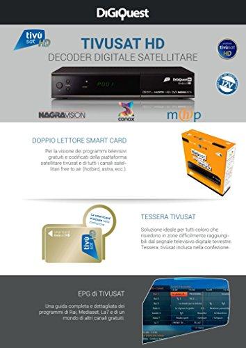 Tivùsat Digiquest HD - Decoder Digitale Satellitare In Alta Definizione - Tessera Tivùsat Inclusa