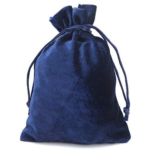 Bolsa de almacenamiento con cordón, elegante bolsa de terciopelo con cordón, reutilizable para tarjetas de monedas, joyas de juego (azul real)