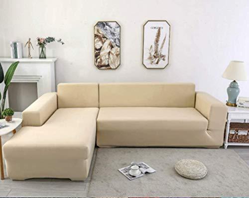 X-ZBS Funda de sofá Cubiertas para sofá elástico en Forma de L Funda de sofá (sofá de Esquina en Forma de L Debe Comprar Dos) (2 lugaress: 140-180cm, Beige)