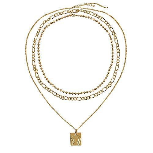 WOIA Collares para Mujer Gargantilla Collar Adornos de Mascota Joyas Símbolo de la Suerte Regalo, Oro