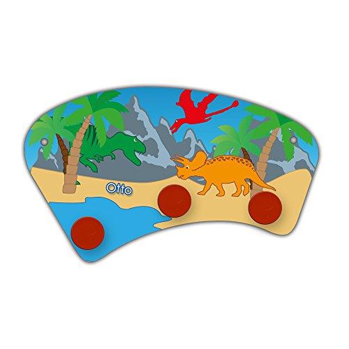 Wand-Garderobe mit Namen Otto und schönem Dinosaurier-Motiv für Jungs - Garderobe für Kinder - Wandgarderobe