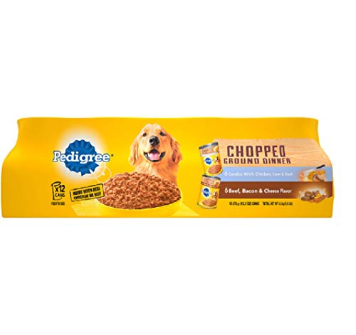 PEDIGREE Chopped Ground Dinner Adult Canned Soft Wet Meaty Dog Food Combo with Chicken, Liver & Beef and Beef, Bacon & Cheese Flavor Variety Pack, (12) 13.2 oz. Cans
