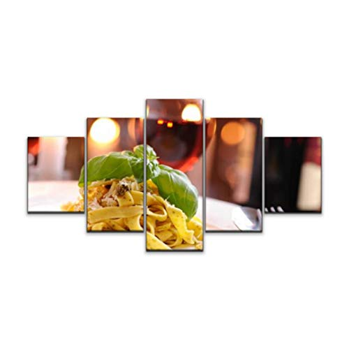 5 panels Wall Art Print On Canvas homemade pappardelle with pesto and parmesan cheese noodles stock Modern Abstract Picture Poster for Home Decor Stretched and Framed Ready to Hang (60''Wx32''H)