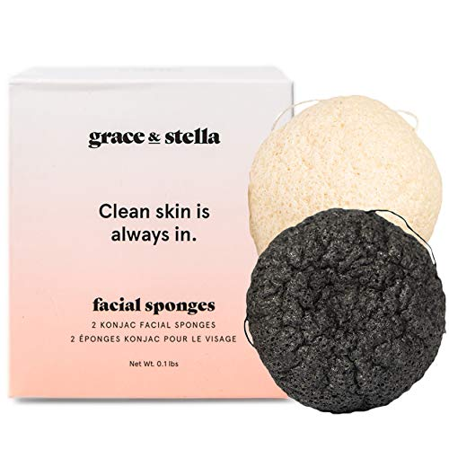 Grace & Stella Konjac Facial Sponges with Activated Bamboo Charcoal for Face - Vegan - Face Bath Sponge For Men & Women Exfoliating Dead Skin, Makeup Removal>