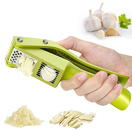 Matone Garlic Press, 2 in 1 Garlic Slicer and Mincer, Professional Food Grade Garlic Crusher with Ergonomic Handle & Large Chamber - Easy Squeeze and Clean, Rust Proof, Dishwasher Safe