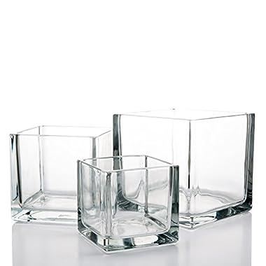 Richland Square Glass Cube Vase Set of 3