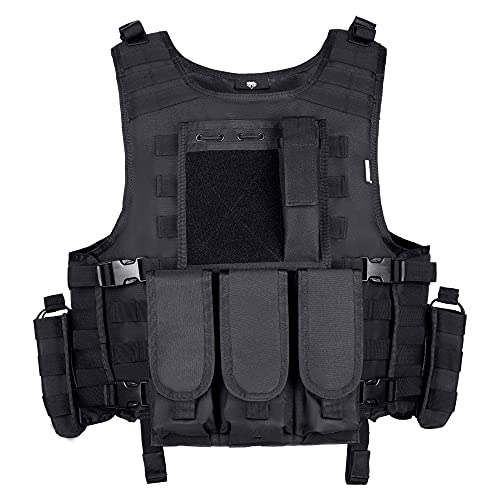 MGFLASHFORCE Tactical Airsoft Vest Adjustable Modular Paintball Vest (Black)