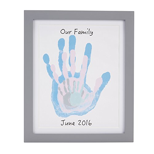 Pearhead DIY Family Handprint Frame and Paint Kit, Family Craft Night Ideas, DIY Gifts, Gray