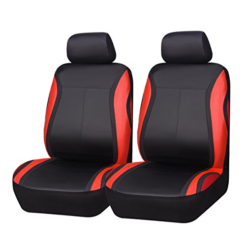 CAR PASS Universal Fit Leather and Spacer mesh Two Front seat...