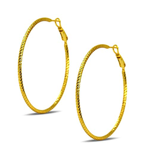 Blue Diamond Club - 24ct Gold Filled Womens 50mm Hoop Earrings Spiral Pattern 24K GF
