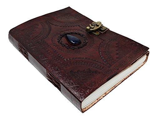 Jaald 25 cm Libreta Notas Cuaderno Hojas Diario Album Hecho a Mano con Cubierta de Cuero y Cerradura Cerrojo Piedra Cristal Azul