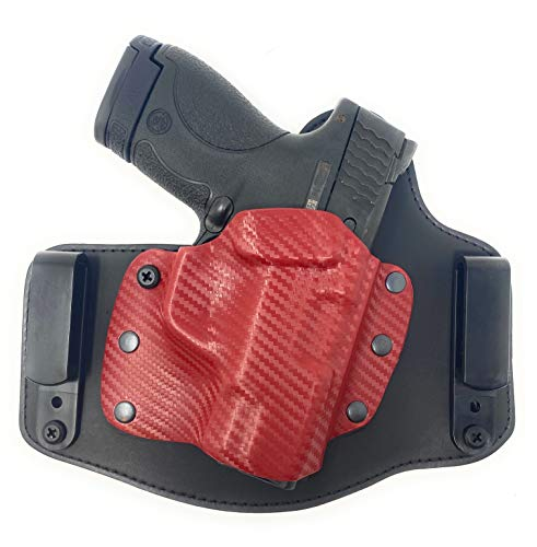 Cardini Leather USA – IWB León Series Kydex and Leather Holster - for Glock 17 - Concealed Carry - Inside The Waistband with Clip - Red Left Hand