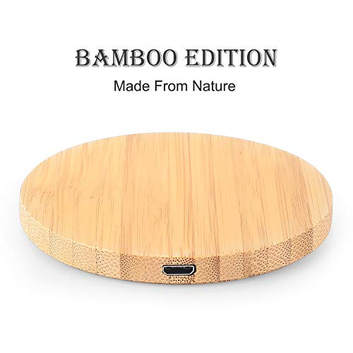 szwisechip Fit for Apple Iphone12 Iphonoe 12 / Pro/Pro Max Bamboo Wood WOODED Fast Wireless Charger 7.5W for Samsung Galaxy S10/S10+/S10e/S9/S9+/S8/S8+/LG G7
