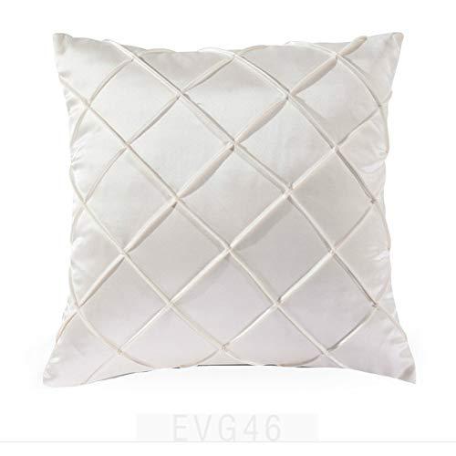 Satin Gold Silver Pillow Case Throw Pillow Cushion Sofa Cushion Car Cushion White - A,45x45cm