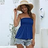 HONGJIU Holiday Femenino Estampado Floral Tubo Plisado sin Tirantes Camisa Superior Blusa (Color : 1563 Blue, Size : Large)