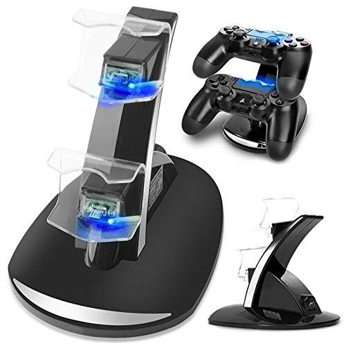 CMDZSW Indicador LED Controlador USB de Doble Base de Carga, Adecuada for Sony Playstation 4 PS4 PS4 / Controlador/Pro PS4 Delgado (Color : Black)