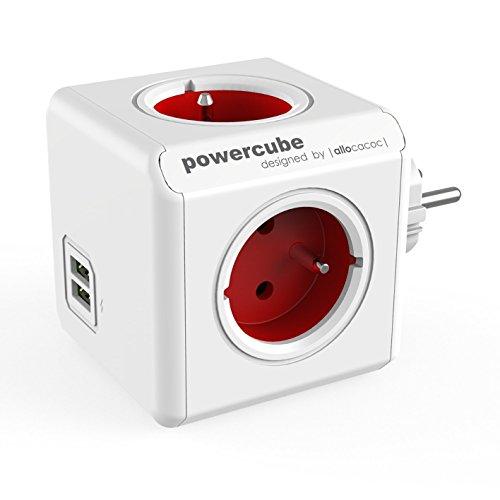 Allocacoc PowerCube original USB type E Extensions de puissance (Rouge)