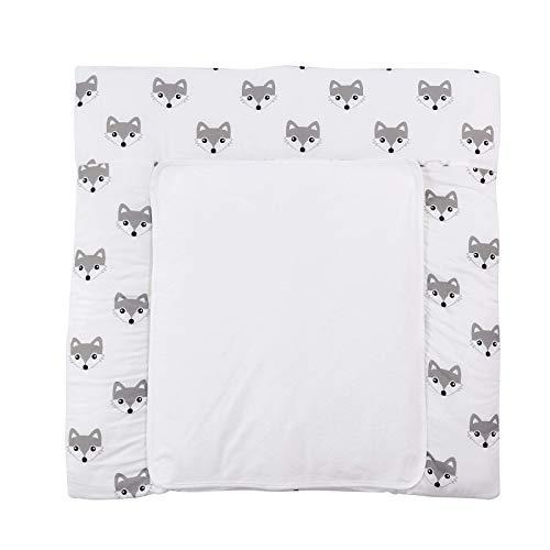 Puckdaddy Wickelauflage Foxi- 77x75 cm, Wickelunterlage aus 100% Baumwolle mit Fuchs-Muster in Weiß, weiche Wickeltischauflage für Wickelkommoden, waschmaschinengeeignet