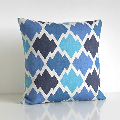 Lplpol Funda de almohada de lona Ikat Funda de almohada Ikat Funda de cojín Ikat Azul Ikat Trellis Azul 60 x 60 cm para sala de estar, sofá y cama
