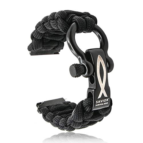 SAVIOR SURVIVAL GEAR 22mm Paracord Watch Band with Stainless Steel Adjustable Shackle - compatible with Samsung S3 (550 Paracord, Black, Large)
