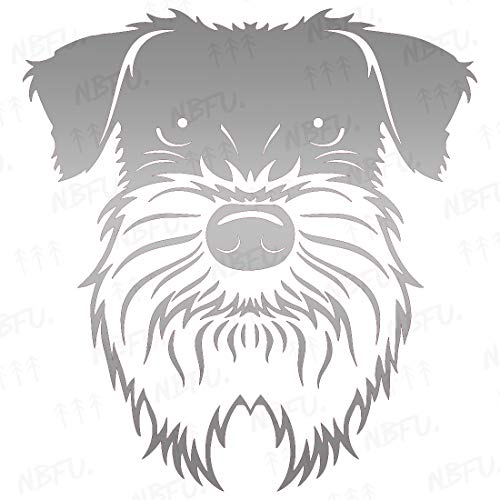 NBFU DECALS Schnauzer Cute Face Dog Animal 1 (Metallic Silver) (Set Of 2) Premium Waterproof Vinyl Decal Stickers For Laptop Phone Accessory Helmet Car Window Bumper Mug Tuber Cup Door Wall Decoration