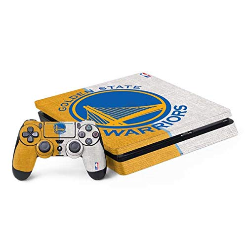 Skinit Decal Gaming Skin for PS4 Slim Bundle - Officially Licensed NBA Golden State Warriors Canvas Design