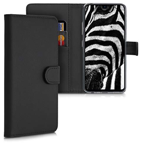 kwmobile Hülle kompatibel mit LG K50 - Kunstleder Handyhülle mit Kartenfächern - in Schwarz