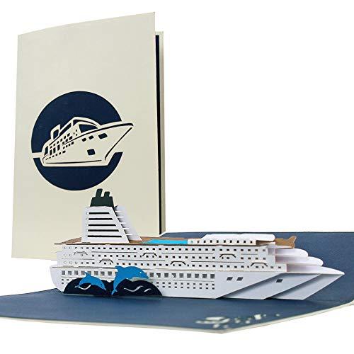 Schöner Reisegutschein, Geburtstagskarte für Kreuzfahrt, Kreuzfahrtschiff, Grußkarte, Geschenkkarte Schiffsreise oder Reise ans Meer, edel, klassisch, T16