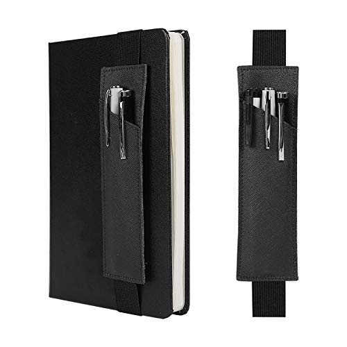 2-Pack Leather Adjustable Elastic Band Pen Holder, Pencil Holder, Pen Sleeve Pouch, Pen Case for Hardcover Notebooks, Journals, Planners, Suitable for Heights from 8' to 11.5'(Black)