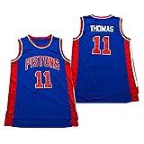 DFGH Camiseta de Baloncesto para Hombres, para Rodman 10 para Thomas 11 para Pistons, Uniforme de Baloncesto Retro, Traje de Entrenamiento para fanáticos, se Puede Lavar repetidamente, BLU