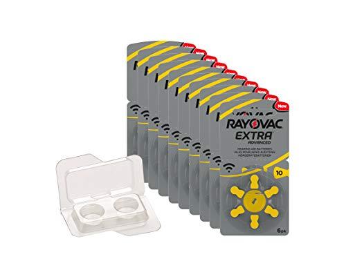 Rayovac Extra Type 10 P10 PR70 ZL4 Piles pour prothèses auditives sans Mercure dans la boîte de Batterie wns-emg-world, 60 pièces