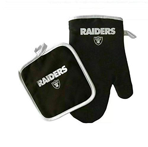 PSG Products Raiders Oven Mitt Glove Pot Holder Set Cooking Grilling Barbecue Football