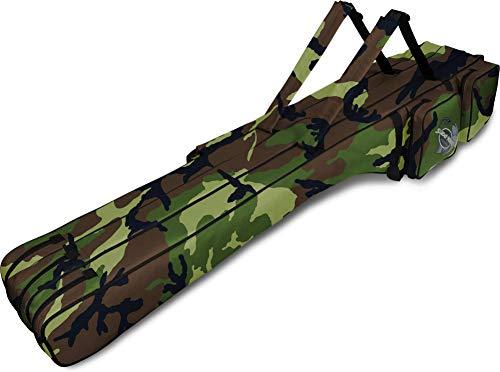 normani Rutentasche Futteral 1,60 Meter mit 3 getrennten Kammern für insgesamt 6 montierte Ruten Farbe Camouflage