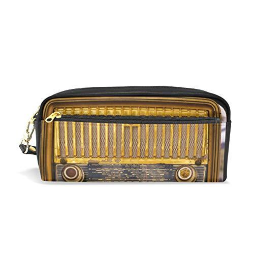 JinDoDo - Estuche de piel sintética para lápices, diseño de radio vintage, colección antigua, para estudiantes